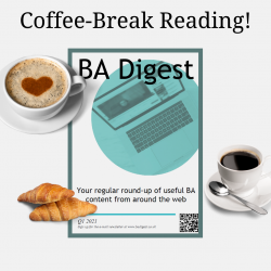 Coffee-break reading. A picture of magazine with two coffees and two croissants. The magazine is entitled BA Digest